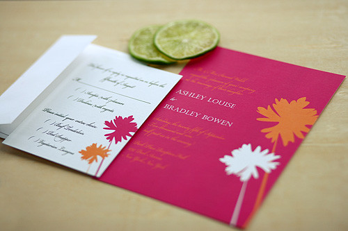 Puffs Wedding Invitation and Response Card, Wedding invitation idea, yellow, red, wedding invitation, flowers, photos