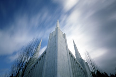 Soaring, 15 seconds (Zeb Andrews) Tags: longexposure urban white architecture oregon temple cityscape spires religion pinhole pacificnorthwest soaring lds zeroimage pinscape zero69 bluemooncamera zebandrews zebandrewsphotography