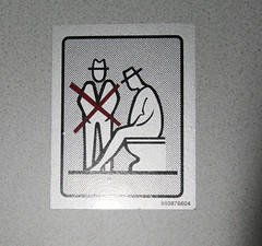 Men with Hats must sit on toilet. (typographyshop) Tags: bus bathroom design graphicdesign restroom informationgraphics