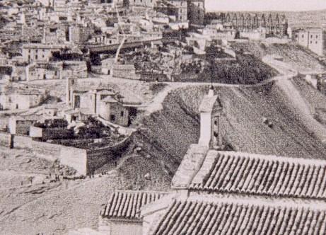 Iglesia de San Lucas desde la Ermita del Valle de Toledo a principios del siglo XX.