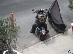 Hells Angels Member on a Motorcycle