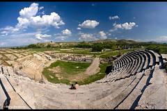 The Colosseum (davcevski) Tags: old sky sun grass clouds landscape fight village amphitheatre colosseum macedonia match geology archeology skopje stobi