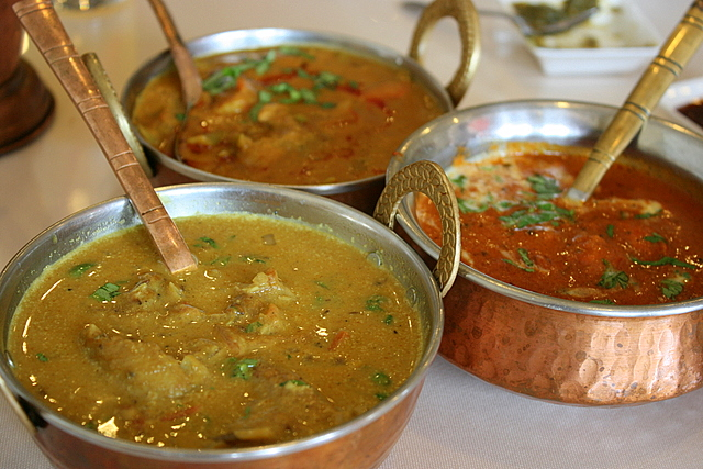 Three types of curry - fish, veg and butter chicken