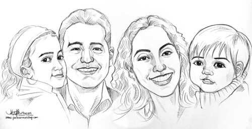 family caricatures in pencil (simple sketch)