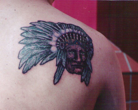 This indian chief tattoo done on young man in south africa by dublin ireland