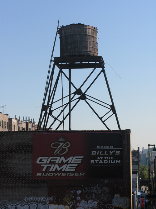 water tower above Billy's across from the retired Yankee Stadium, Bronx, NYC