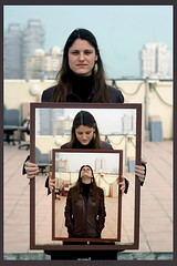 A Portrait Of She (Gilad Benari) Tags: portrait woman art smile face portraits print poster israel telaviv different gloomy sad expression creative frame future past  emotive walla hila   creativeportrait giladbenari  abigfave     fantastickflashes  hilatal hilafirestien holdingaframe