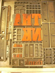 """Thank"" type form locked up (Elwyn Brooks) Tags: woodtype typeform"