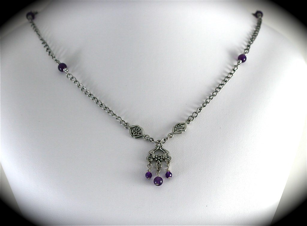 Antiqued Silver and Amethyst Necklace