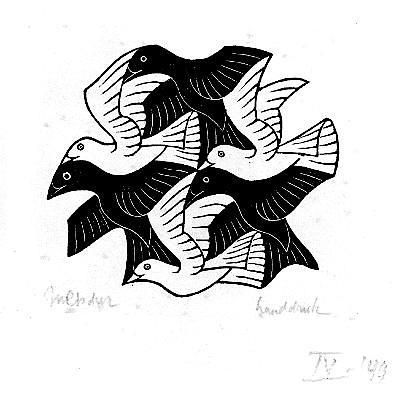 Relleno espacial con aves, 1949 (boceto)