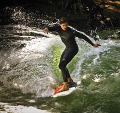 eisbach surfing (ss) Tags: people man color water sport canon germany munich mnchen bayern deutschland bavaria jump surf action surfer board style wave surfing splash waterdrops englischergarten welle eisbach stehendewelle permanentwave