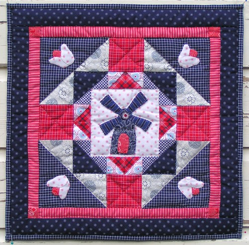 miniquilt with tulips and windmill
