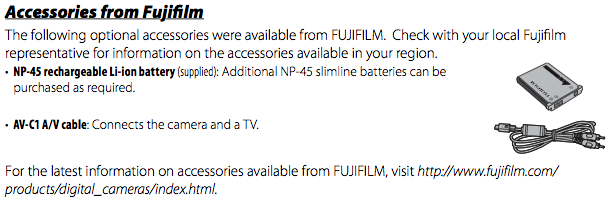 Using the AV-C1 A/V cable and other accessories, as documented on Page 98 of the Fuji Z30 Manual