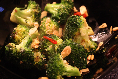 Charred brocolli with chilli and garlic