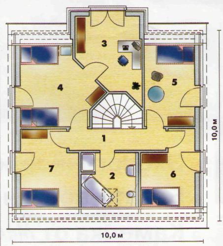 Мансардный этаж: 1 — коридор 5,8 м2; 2 — ванная 8, 6m*;3 — кабинет 12,4м2; 4 — спальня 15,3 м2; 5 — спальня 11,3 м2; 6 — спальня 9,9 м2; 7 — спальня.