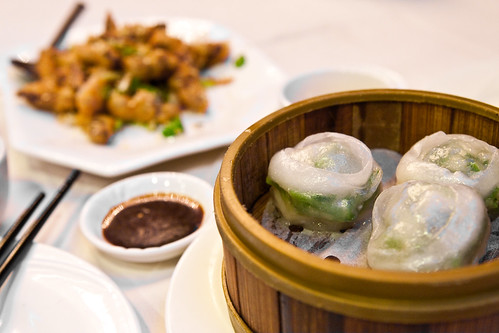 Scallop dumplings and duck tongues