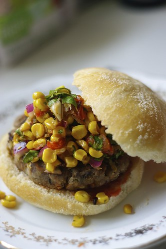 Hearty Veggie Burger with Roasted Corn and Red Pepper Salsa