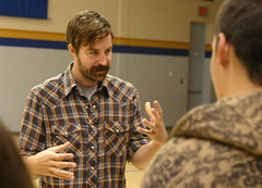 Director Dylan Reibling speaks with students about the filmmaking process.