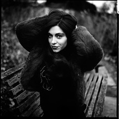 Jazz redux (sixbysixtasy) Tags: park autumn portrait bw london 6x6 film girl beautiful model hc110 hasselblad hasselblad500cm adox chs50