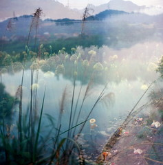 Upriver  (Skies of Bitan ) Tags: film analog mediumformat landscape outdoors fishing fisherman kodak taiwan naturallight 120film multipleexposure taipei analogue   bellows  xindian  ektar c41 tessar colorfilm     kodakektar fivecolor  zeissikonsuperikonta  carlzeissjenatessar80mmf28