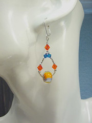 Sterling Silver Blue, Orange & White Moretti Glass Lampwork Earrings with Swarovski Crystals (alotofsparkle_jewelry) Tags: silver crystal sterling swarovski lampwork morretti