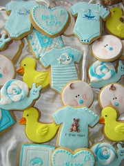 baby boy cookies closeup (The Whole Cake and Caboodle ( lisa )) Tags: newzealand baby feet face cookies hearts duck cookie snail gift present biscuits babyshower whangarei caboodle onsies babyblock thewholecakeandcaboodle