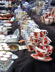 kitchenware stall (Lydie's) Tags: uk england floral mugs shropshire markets stall ludlow cups poppies teapots jugs crockery kitchenware flandish englishness sauceboat ovenware