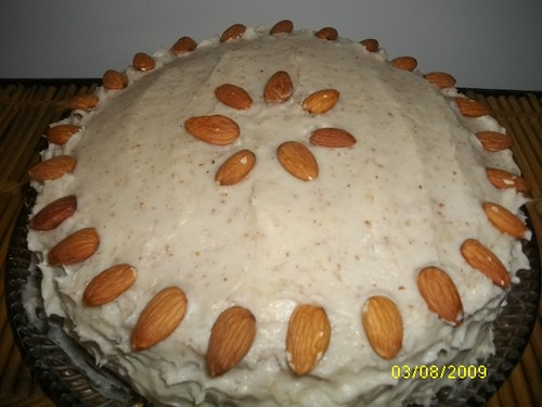 Almond Cake with Almond Filling and Almond Butter cream