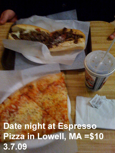 Date night at Espresso Pizza in Lowell, MA =$10