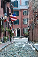 Acorn St. (disguster) Tags: street city house building brick boston nikon flag massachusetts cobblestone acorn 2009 d80 emcone