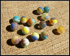 Vitro-Agate Tiger Eye Marbles (Dusty_73) Tags: game eye glass agate colors vintage toy kodak tiger westvirginia americana marbles marble parkersburg tigereye vitro vitroagate