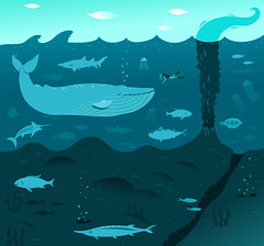 Deep Blue Whale (moonape) Tags: ocean sea fish art illustration swim volcano jellyfish artist underwater deep scubadiving whale characters diver illustrator vector barracuda eruption marlin swordfish tentacles deepsea bluemarlin bluewhale seabed mathers underwatervolcano