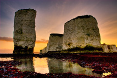 Old Harry at sunset (Terry Yarrow) Tags: uk sunset sea england sky seaweed canon walking landscape evening coast chalk cliffs dorset hdr stacks studland oldharryrocks dorsetcoastpath theunforgettablepictures