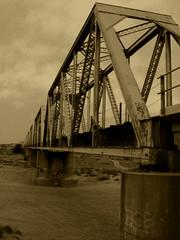 DSCF1397 (phil_sidenstricker) Tags: bridge nature sepia landscape blackwhite edited traintracks wash donotcopy copperlantern fujifilmfinepixs5700 proudshopper awardtree coolidgeazusa ♡~thecopperlantern~♡