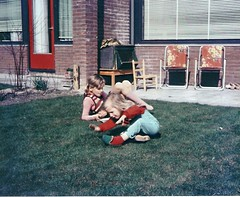 Me and my sister (1971) (Pingu1963) Tags: girls playing kids sisters garden children kinderen tagged 70s tuin meisjes spelen zusjes