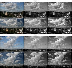 Sky shots: polarizer and red filter (Claudio Matsuoka) Tags: sky bw test clouds skyscape montage polarizer redfilter imagemagick ef28135