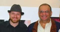Rodolfo Vanmarcke y Gilbert Minionis (Pte.Ejecutivo de NetUno)  en la inauguración de la muestra