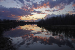 Cloudy water (KarenR-TB) Tags: sunset clouds reflections river thunderbay mcintyreriver anawesomeshot