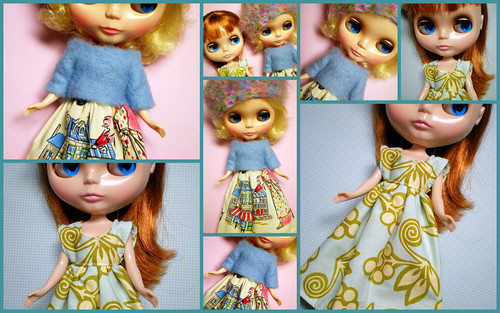 Collage of Dollies in New Dresses