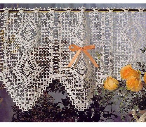 Crochet Ecru Tailored Curtain Valance Final Sale
