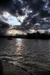 Behind the clouds (Rodrigo S. Cortez) Tags: argentina sunshine clouds river buenosaires pentax super behind 2009 tigre hdr k100d