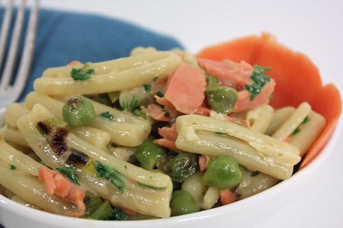 Detail Garbanzo Beans and Salmon Pasta