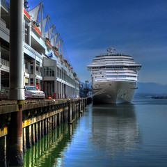 Carnival Splendor Docked (ecstaticist) Tags: ocean cruise carnival blue sea sky holiday canada reflection water vancouver canon ship place ripple columbia terminal deck british hdr splendor 2x photomatix tonemapped tonemapping g10