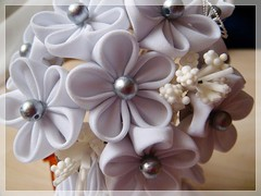closeup (Hatsu-chan^^) Tags: white flower silver butterfly japanese petals blossoms pearls maiko bouquet folding tsumami shidare kanzashi