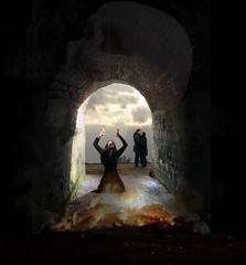 Lost Love (h.koppdelaney) Tags: life art love loss digital photoshop dark out freedom path gothic free tunnel philosophy mind hate depression passion saturn exit melancholy underworld quest metaphor drama mythology entry hades myth trauma symbolism psychology archetype melancholia hourofthesoul graphicmaster