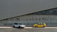 bauhaus steel vs stark concrete (lazybone cafe) Tags: ranch school abstract building rabbit window yellow architecture modern vw silver golf volkswagen wagon concrete design losangeles high cafe geometry contemporary steel cement minimal diamond architect thom gti audi avant mayne lazybone s4 vag mkiv morphosis imola mk4 b6 20ae lazybonecafe