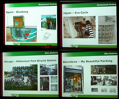 Richard Campbell's presentation slides at the Vancouver Museum showing Biceberg, Eco Cycle, Millennium Park Bicycle Station, and My Beautiful Parking