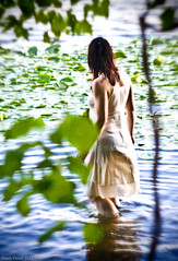 ... (FLASHFLOOD) Tags: trees feet wet girl fence wire dress forrest skin ivy afraid chaines whitedress wetdress flashfloodstudios flashfloodphoto