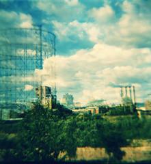 visioni magrittiane (bryenh) Tags: camera rome roma film clouds lomo nuvole cielo dianaf gazometro gasometro analogic ostiense analogico rullino