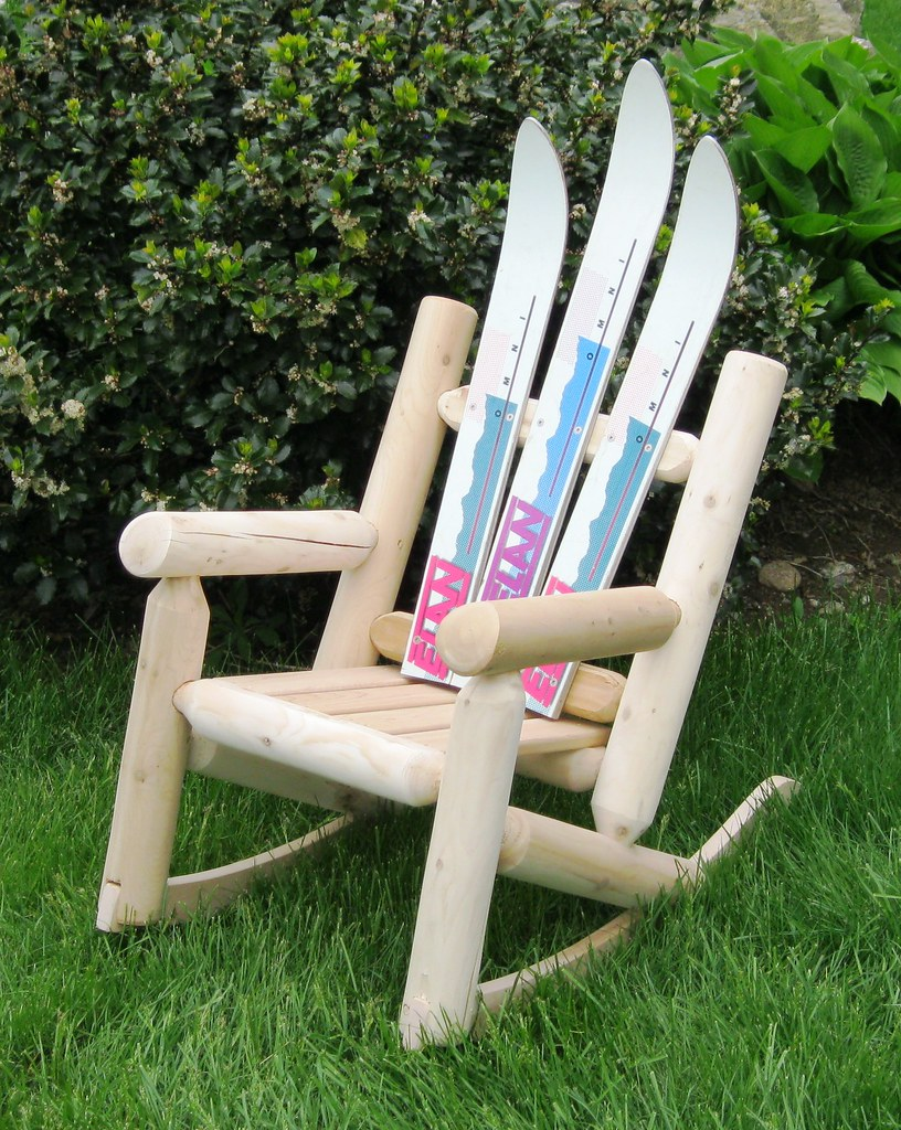 Childrens Girls Ski Log Rocker with Wooden Seat